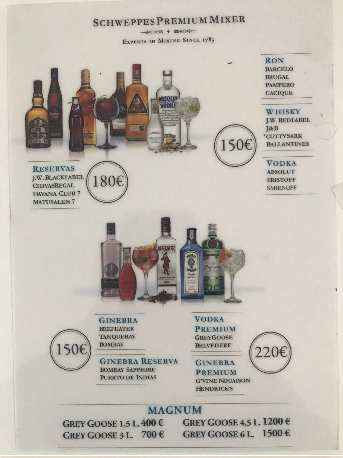 MENU BOTTLE NEW GARAMOND PRICE