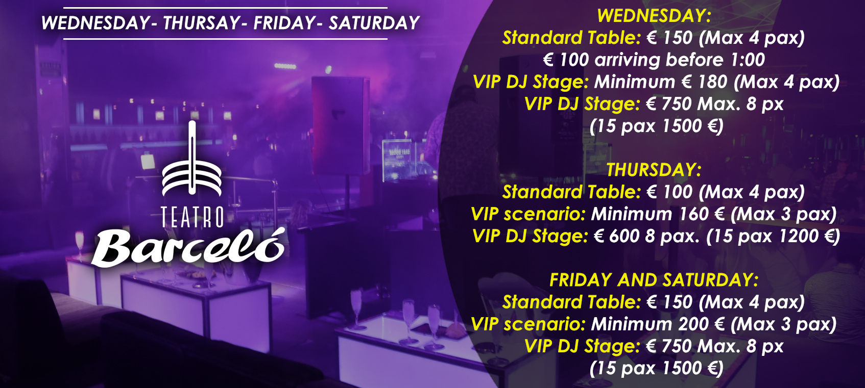 prices tables vip disco theater barcelo