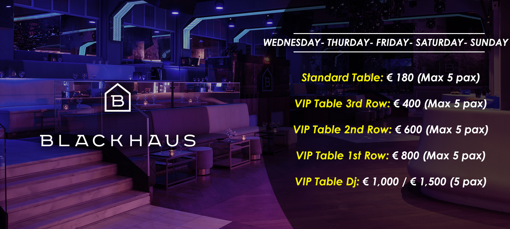 prices tables vip disco blackhaus