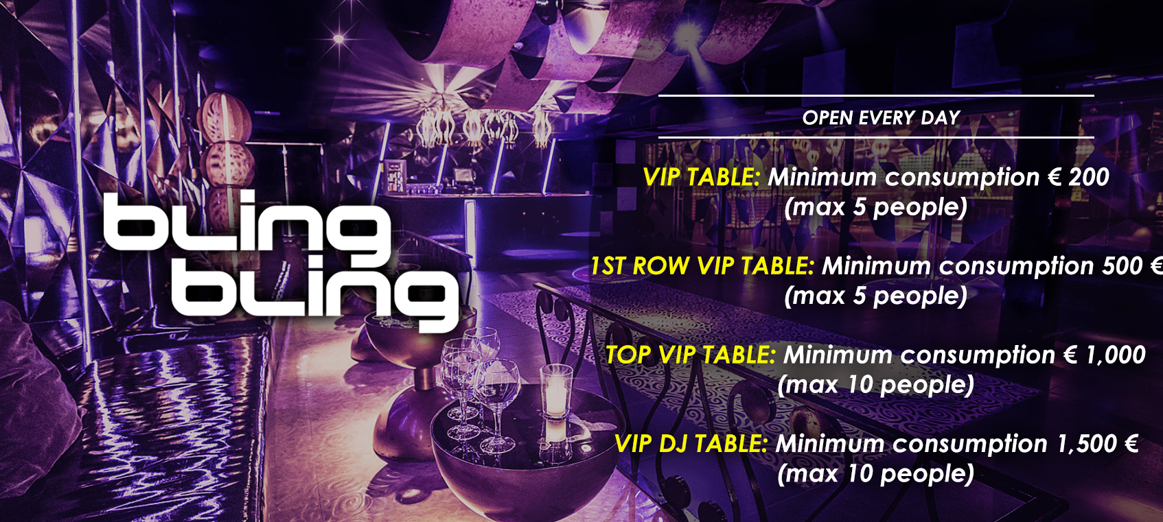 prices tables vip disco  bling bling