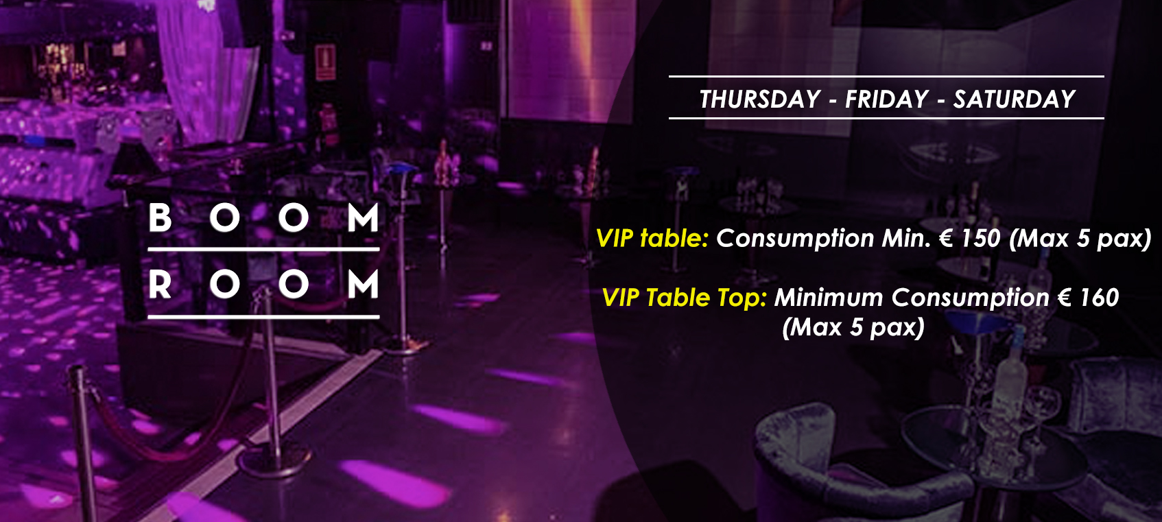 prices tables vip disco  boom room