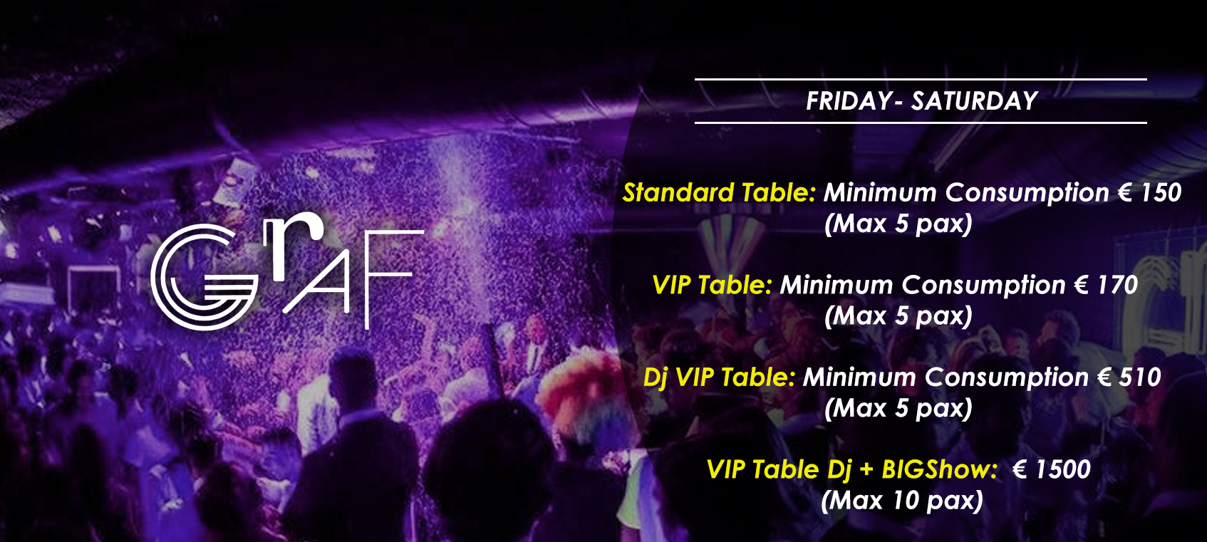 prices tables vip disco  graf