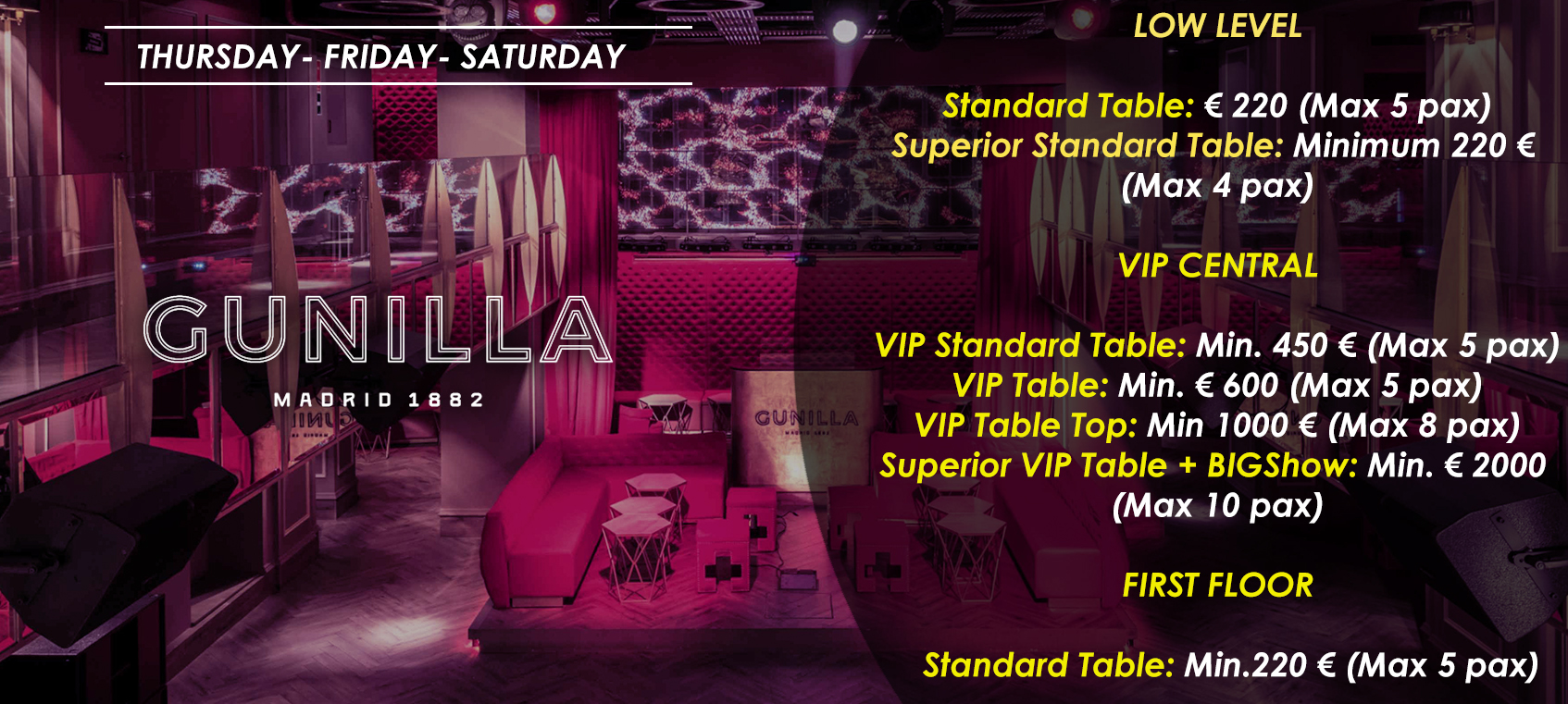 prices tables vip disco gunilla