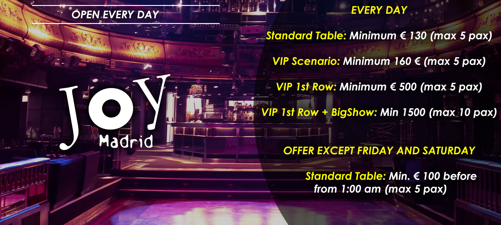 prices tables vip nightclub joy