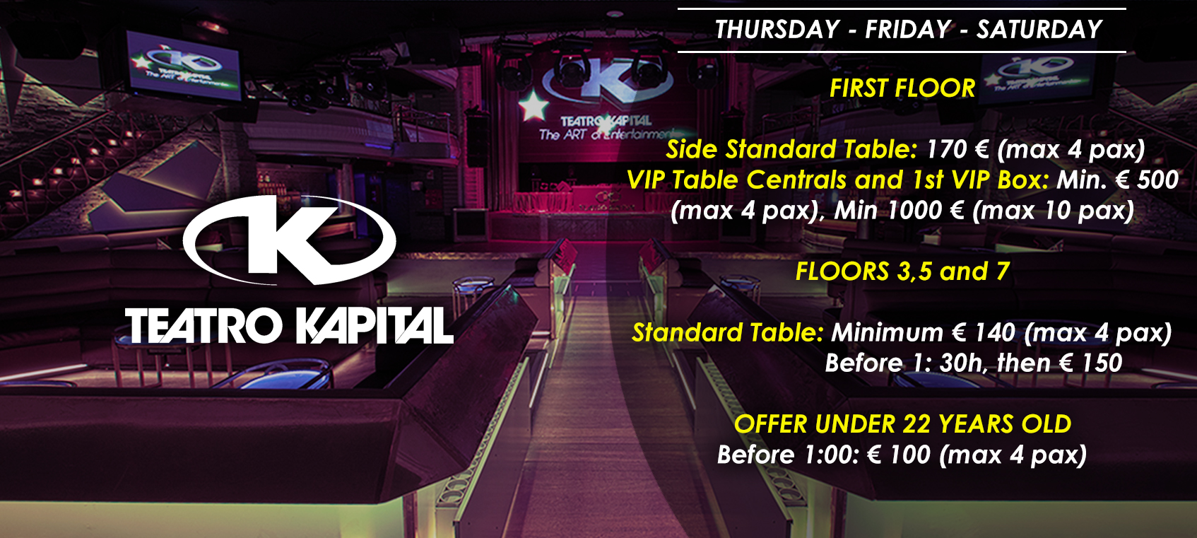 prices tables vip nightclub theater kapital