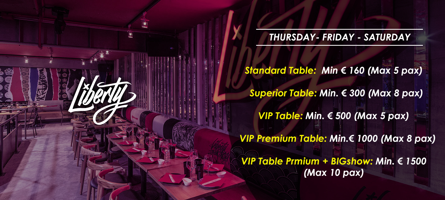 prices tables vip disco  liberty supper club