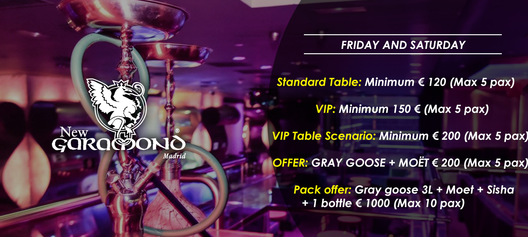 prices tables vip disco  new garamond