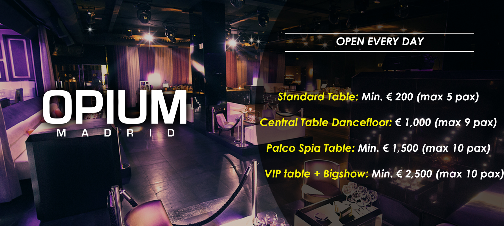 prices tables vip disco opium