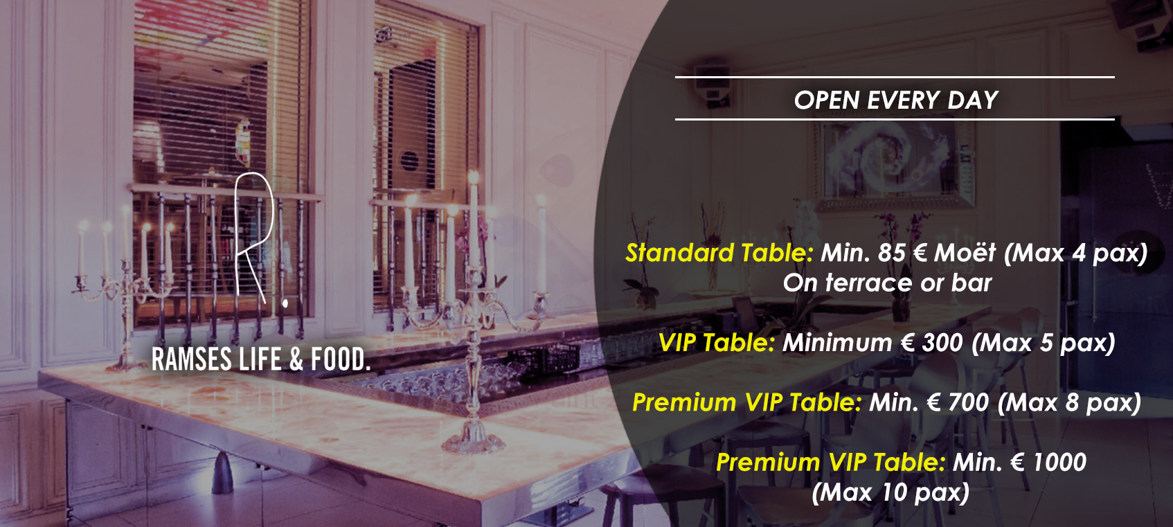 prices tables vip disco  ramses
