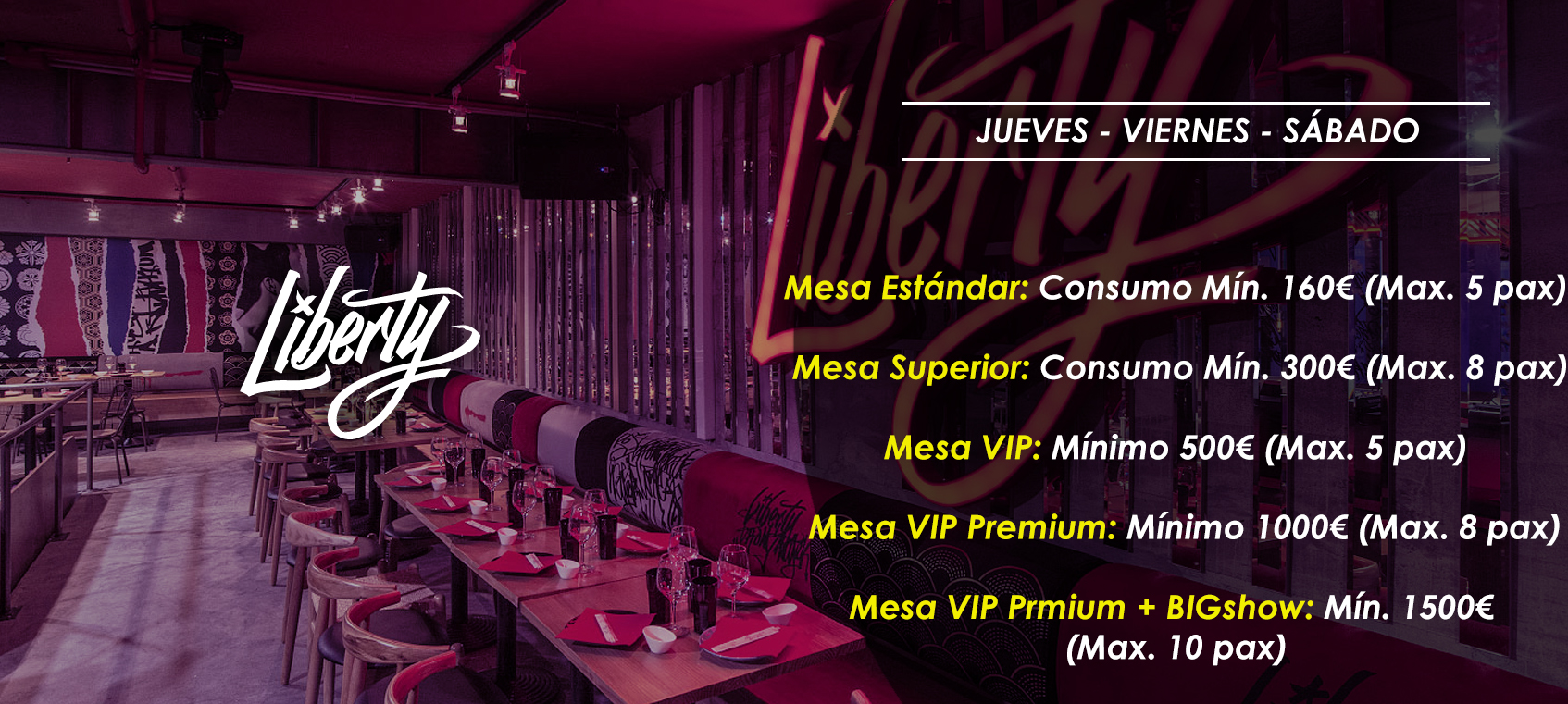 precio mesas vip discoteca teatro liberty supper club